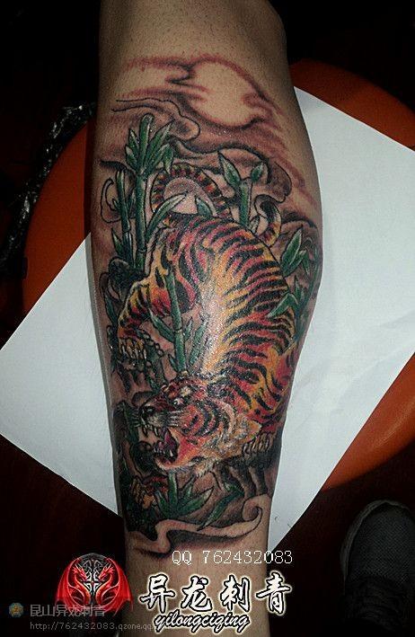 小腿老虎纹身图案大全展示