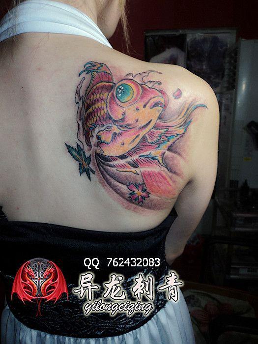 美女金鱼纹身图案图片