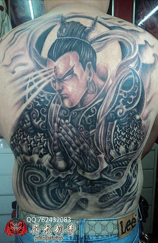 满背二郎神纹身图案
